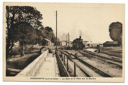 41-ROMORANTIN-La Gare Et Le Pont Sur La Sauldre...  Animé  Train  (verso Trace Adhésif) - Romorantin