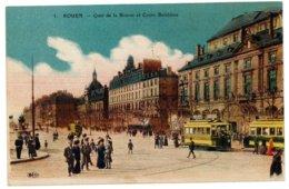 CPA 76 ROUEN N°5 QUAI DE LA BOURSE ET COURS BOELDIEU ANIMEE TRAMS COLORISEE 1938 ELD - Rouen