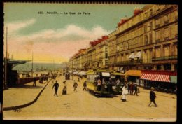 CPA 76 ROUEN N°650 LE QUAI DE PARIS ANIMEE TRAM COLORISEE ELD 1925 - Rouen