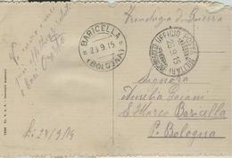 """""""FRANCHIGIA DI GUERRA""""TIMBRO UFFICIO POSTA MILITARE13° DIVISIONE,1915,PER BARICELLA (BOLOGNA), - Guerra 1914-18"""