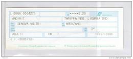 Biglietto Ferroviario Italia - F.S. Regione Liguria - Corsa Semplice - Fascia Km. 7 Da Euro 2.20 - Europa