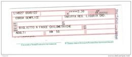 Biglietto Ferroviario Italia - F.S. Regione Liguria - Corsa Semplice - Fascia Km. 50 - Europa