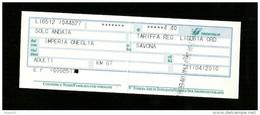 Biglietto Ferroviario Italia - F.S. Regione Liguria - Corsa Semplice - Fascia Km. 67 - Europa