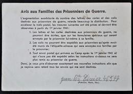 CP STALAG III B Janv 1941 AVIS Aux FAMILLES Des PRISONNIERS DE GUERRE Nouvelles Règles COURRIER COLIS > Gerzat - Marcophilie (Lettres)