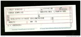 Biglietto Ferroviario Italia - F.S. Regione Liguria - Corsa Semplice - Fascia Km. 70 - Europa