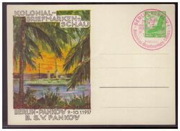 Dt- Reich (008056) Privat Ganzsache Fech PP142 C8, Kolonial-Briefmarken Schau Berlin, Vom 9.-10.1.1937 Rotem SST Berlin - Ganzsachen
