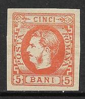 Romania Prince Carol 5 Bani Orange MLH Forgery - 1858-1880 Moldavia & Principato