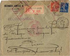 FRANCE OBLITERES SUR LETTRE OBLITERATION MASEVAUX 1915 ALSACE LIBEREE CENSURE FRANCAISE - Marcophilie (Lettres)