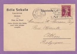 BELA SEKULA,NÉGOCE DE TIMBRES-POSTES,LUCERNE.CARTE POSTALE POUR ATHUS,BELGIQUE. - Suisse