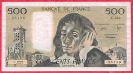 "500 Francs ""Pascal"" Du 03/01/1985.H ----XF/SUP+-----ALPH .U.222 - 1962-1997 ''Francs''"