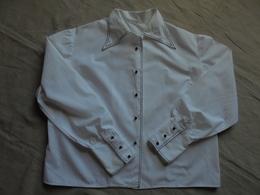 Ancien Chemisier En Coton Blanc Années 70 - 1940-1970