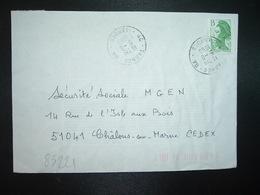 LETTRE TP LIBERTE B VERT OBL.5-8 1988 40 TARNOS GA LANDES (GUICHET ANNEXE) - Poststempel (Briefe)
