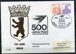 """Germany Berlin 1990 Sondebeleg/Privatganzsache 500 JAHRE POST Mi.Nr.PU ?? Mit SST""""Iserlohn-500 Jahre Post """"1 Beleg - Poste"""