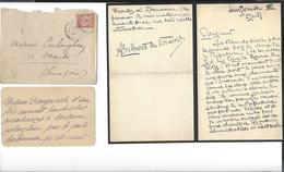AUGUSTE GILBERT DE VOISINS  1877 Paramé 1939 Autographe à Coulanghéon ( Joint Autre Lettre De ? , Sur Décès - Autographs