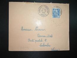 LETTRE TP M. DE GANDON 15F OBL. DAGUIN BD SEUL 19-12 1951 MORGENX - ENTREPOT LANDES (40) - Bahnpost
