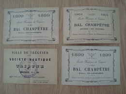 LOT DE 4 TICKETS DU BAL CHAMPETRE SOCIETE NAUTIQUE DE TREGUIER 1899 - Tickets - Entradas