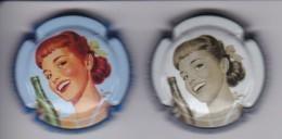 LOTE DE 2 PLACAS DE CAVA BALANDRAU DE UNA PIN-UP (CAPSULE) MUJER-WOMAN- PIN UP - Sparkling Wine