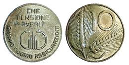 02184 GETTONE TOKEN JETON ADVERTISING AZIENDALE GRUPPO DUOMO ASSICURAZIONI CHE PENSIONE AVRAI? 10 LIRE - Italy