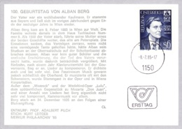 1985  100. Geb. Alban Berg FDC Karte (ANK 1834, Mi 1803) - FDC
