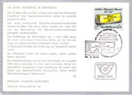 1985 100 Jahre Rekozettel In Österr. FDC Karte  (ANK 1837, Mi 1806) - FDC