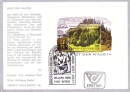 1985  Jahr Des Waldes - Block FDC Karte (ANK Block 9, Mi Block 7) - FDC