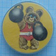 USSR / Badge / Soviet Union / Olympic Summer Games 80. Weightlifting. Weight. Olympic Teddy. - Weightlifting