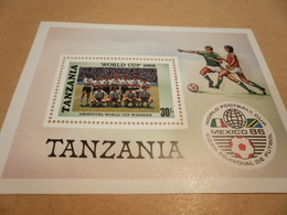Miniature Sheet Football World Cup Mexico 1986 - Tanzania (1964-...)