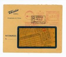 RACCOMANDATA 65 LIRE 09/03/1950 TOTOCALCIO/ CONI CON COMUNICAZIONE VINCITA (B/07) - Affrancature Meccaniche Rosse (EMA)