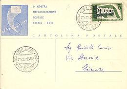 (St.Post.).1^ MOSTRA MECCANIZZAZIONE POSTALE ROMA - EUR, 1956, ANNULLO SPECIALE (2-19) - Posta