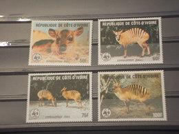 COTE D'IVOIRE - 1985 WWF ANIMALI 4 VALORI - NUOVI(++) - Costa D'Avorio (1960-...)