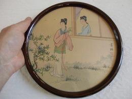 Peinture Sur Soie Chine Souvenir HongKong Vintage 1 De 7 Ventes Diamètre 23 Cm.! - Obj. 'Souvenir De'