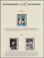 Komoren / Kongo: Weltraumfahrt Saturn-V-Rakete & Mondlandung, 3 Marken ** - Astronomie