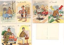 M8938 Tematica Codice Della Strada 1959 Umoristiche Ed Cecami Serie Completa 1252 6 Cartoline Non Viaggiate - Humor
