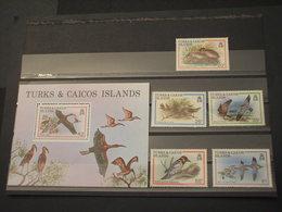 TURKS AND CAICOS - 1980 UCCELLI 5 VALORI + BF - NUOVI(++) - Turks & Caicos