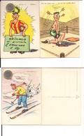 M8939 Tematica Sport Sci Boxe Calcio Umoristiche Ed Cecami Serie 1282 3 Cartoline Non Viaggiate - Humor