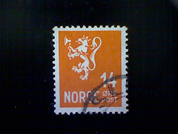 Norway (Norge), Scott #194, Used (o), 1941, Lion Rampant, 14ø, Deep Orange - Norway