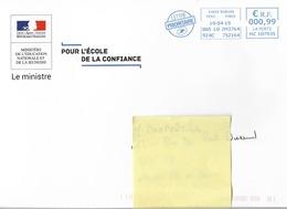 """Lettre   """" Ministère De L' Education Nationale  """"  Le Ministre """"   Daté Du 19 - 04 - 2019 - France"""