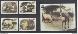 JORDAN, 2005,  MNH, WWF, ARABIAN ORYX, 4v+S/SHEET - Other