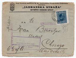 1928 YUGOSLAVIA, CROATIA, JADRANSKA STRAZA, SPLIT TO USA, CHICAGO, FLAM, UNIVERSITY OF CHICAGO - Covers & Documents