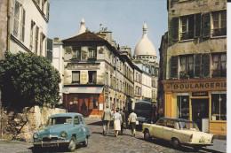 CPSM AUTO VOITURE ARONDE SIMCA  BOULANGERIE PARIS VIEUX MONTMARTRE RUE NORVINS  PLACE TERTRE AU LOIN SACRE COEUR - Passenger Cars