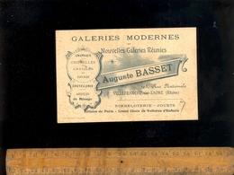 Carte De Visite : Galeries Modernes Auguste BASSET Chapeaux Coutellerie Jouets 195 Rue Nationale VILLEFRANCHE SUR SAONE - Cartes De Visite