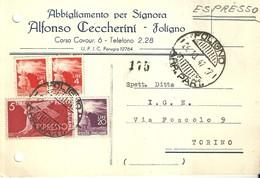 """4050 """" ABBIGLIAMENTO PER SIGNORA ALFONSO CECCHERINI-FOLIGNO"""" CART. POST. ORIG. SPEDITA 1947 - Negozi"""