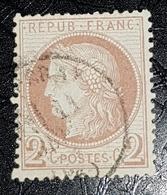 Timbre France III République 1871-75 (°) 2c Rouge Brun Cérès Grands Chiffres YT 51 (côte 20 Euros) - 1871-1875 Ceres