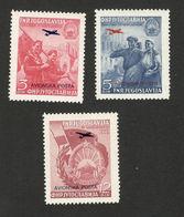 YUGOSLAVIA-MNH SET-ANNIVERSARY OF UPRISING IN MACEDONIA-OVPT. PLANE-AIRMAIL-1949. - 1945-1992 Socialist Federal Republic Of Yugoslavia