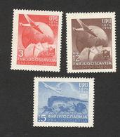 YUGOSLAVIA-MNH SET-ANNIVERSARY OF UPRISING IN MACEDONIA-OVPT. PLANE-AIRMAIL-1949 - 1945-1992 Socialist Federal Republic Of Yugoslavia