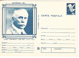 1983 , Romania , Roumanie , Writer D.Zamfirescu , Pre-paid Postcard - Romania