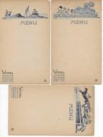 3 Menus VITTEL Grande Source Illustrés Par JAN. Vittel : Le Golf, Vittel : Les Courses, Vittel: Le Parc Des Enfants. - Menus