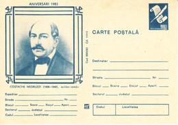 1983 , Romania , Roumanie , Writer C.Negruzzi , Pre-paid Postcard - Romania