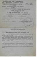 Carte Admission Aux Cours De L'association Polytechnique Pour Le Développement De L'Instruction Populaire 1929-1930 - Organizaciones