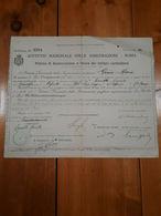 1918 POLIZZA GUERRA MILITARI COMBATTENTI ALPINI ISTITUTO NAZIONALE ASSICURAZIONI - Banco & Caja De Ahorros